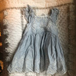 Gap Eyelet lace pinstriped blue and white dress